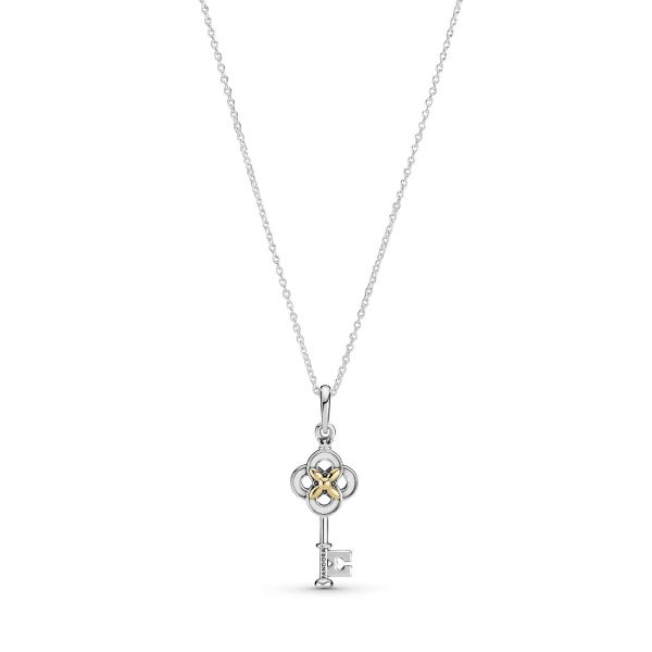 Key sterling silver and 14k gold necklace with clear cubic zirconia