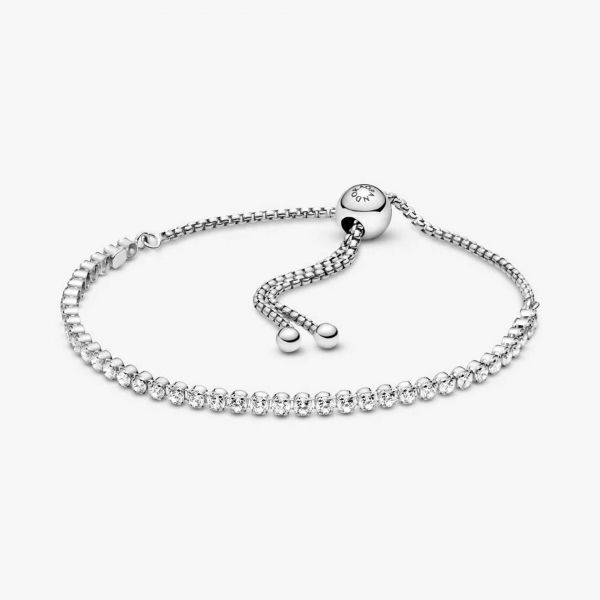 Rhodium plated silver bracelet with clear cubic zirconia