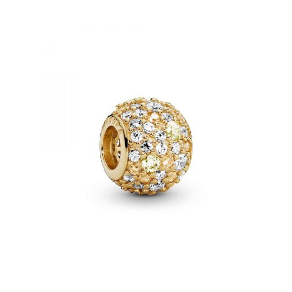PANDORA shine charm with Sunshine yellow, fancy golden coloured and clear cubic zirconia