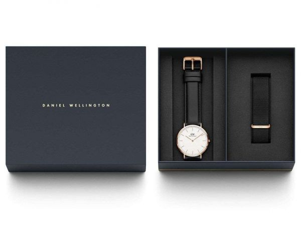 DANIEL WELLINGTON SET Classic Sheffield Rose Gold 40mm + Cinturino Nato Classic Cornwall